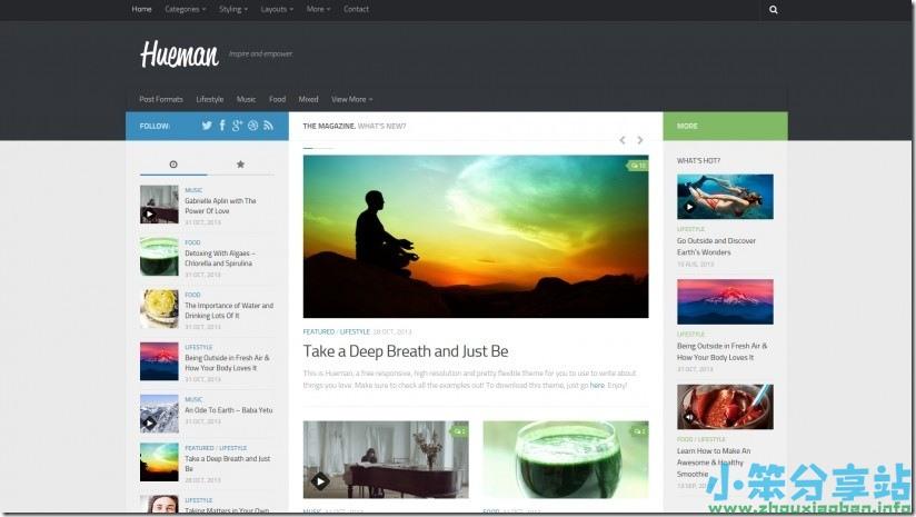 Hueman v3.4.0 小笨汉化中文版-WordPress(两栏/三栏)多功能杂志主题